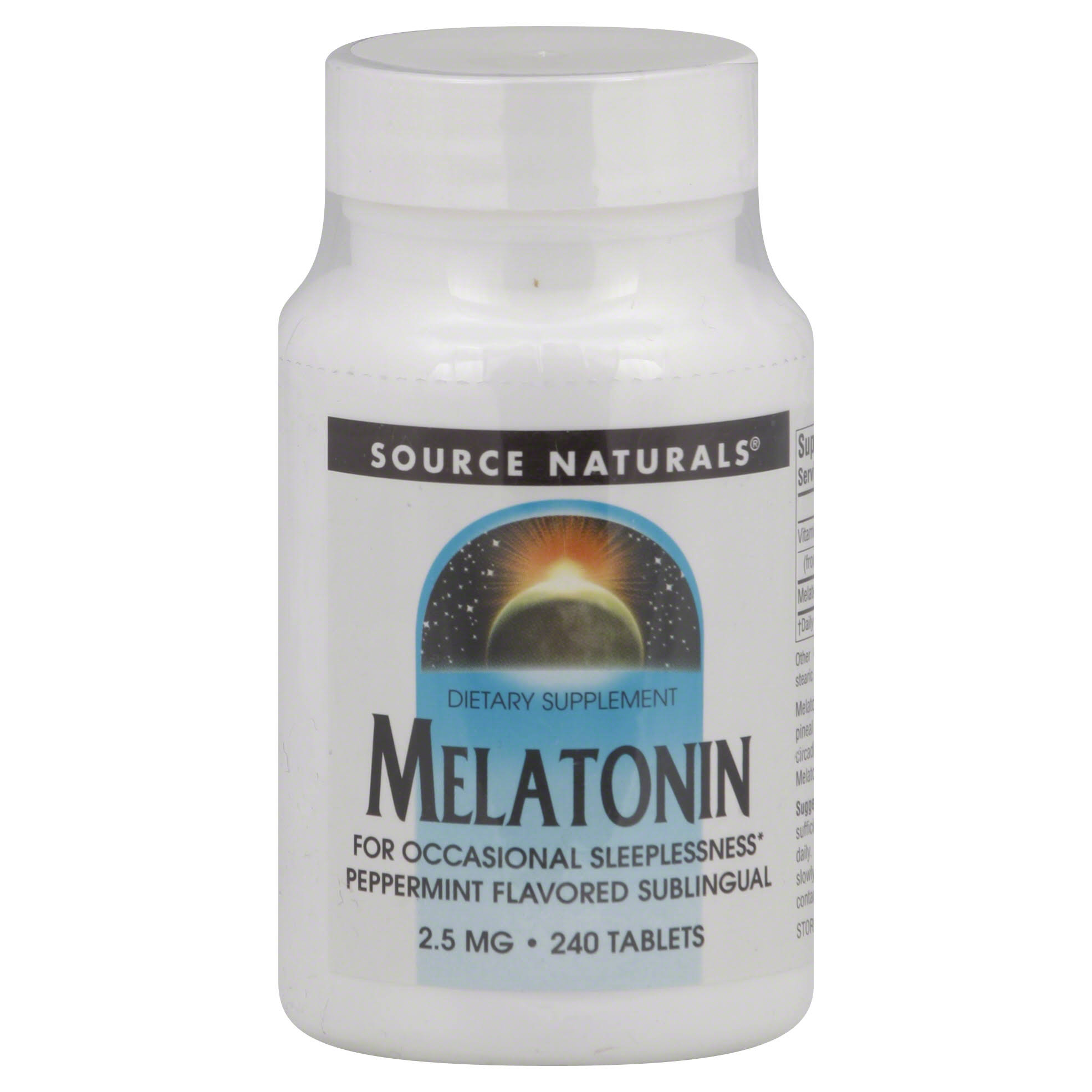Source Naturals Melatonin 2.5mg Dietary Supplement - Peppermint Flavour, 240 Tablets