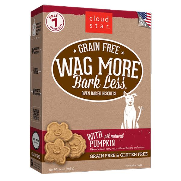 Cloud Star Wag More Oven Baked Grain Free Dog Biscuits - 14oz, Pumpkin