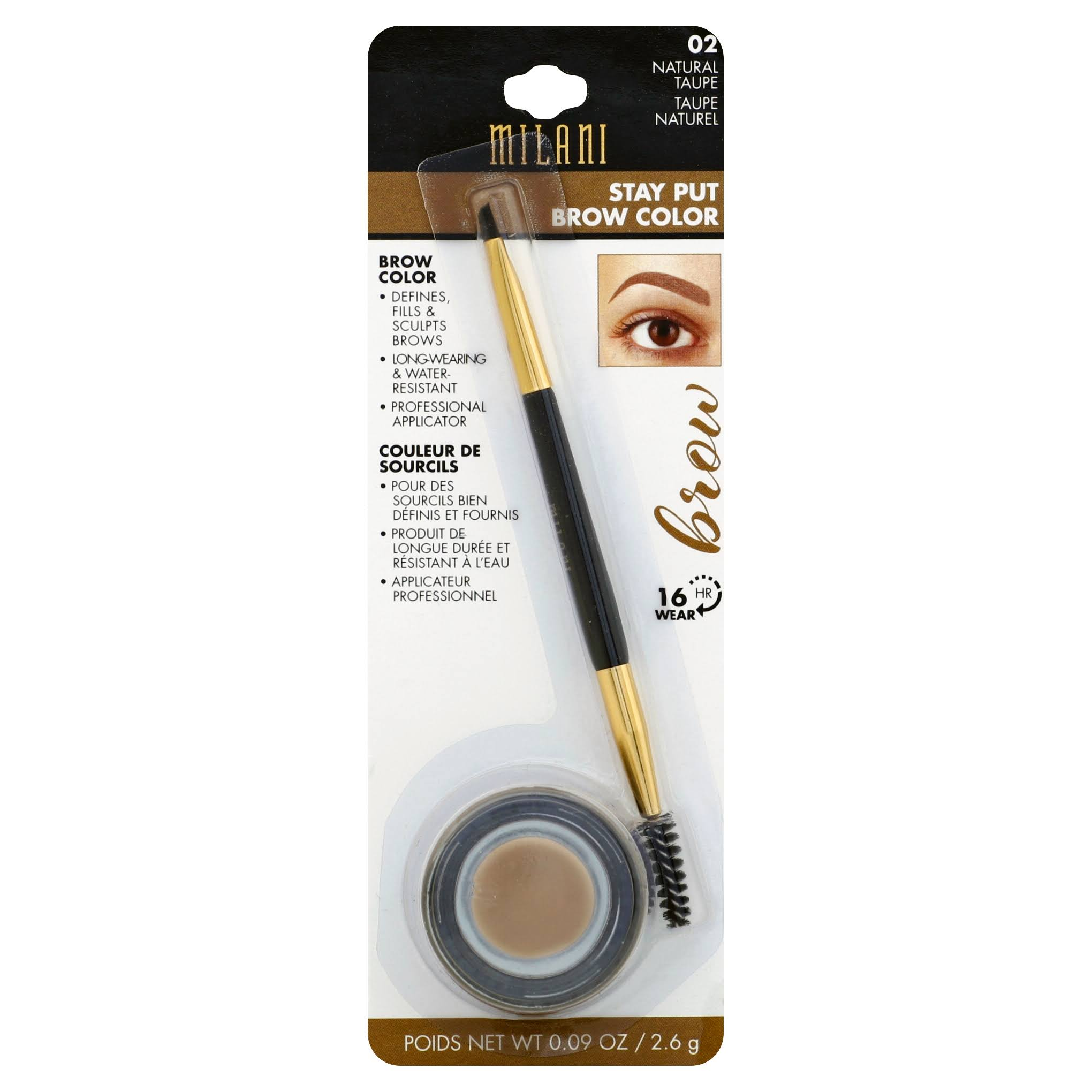 Milani Stay Put Brow Color - 02 Natural Taupe, 0.09oz