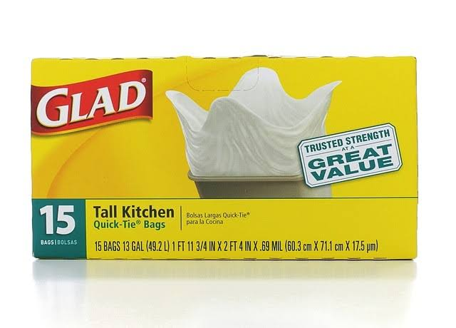 Glad Tall Kitchen Quick Tie Bags - 13 Gallon, x15