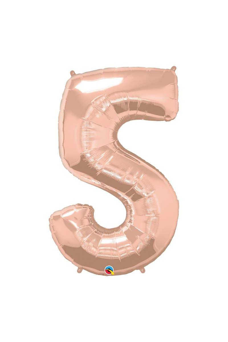 Qualatex 34 Inch Number Balloon - 5 Rose Gold