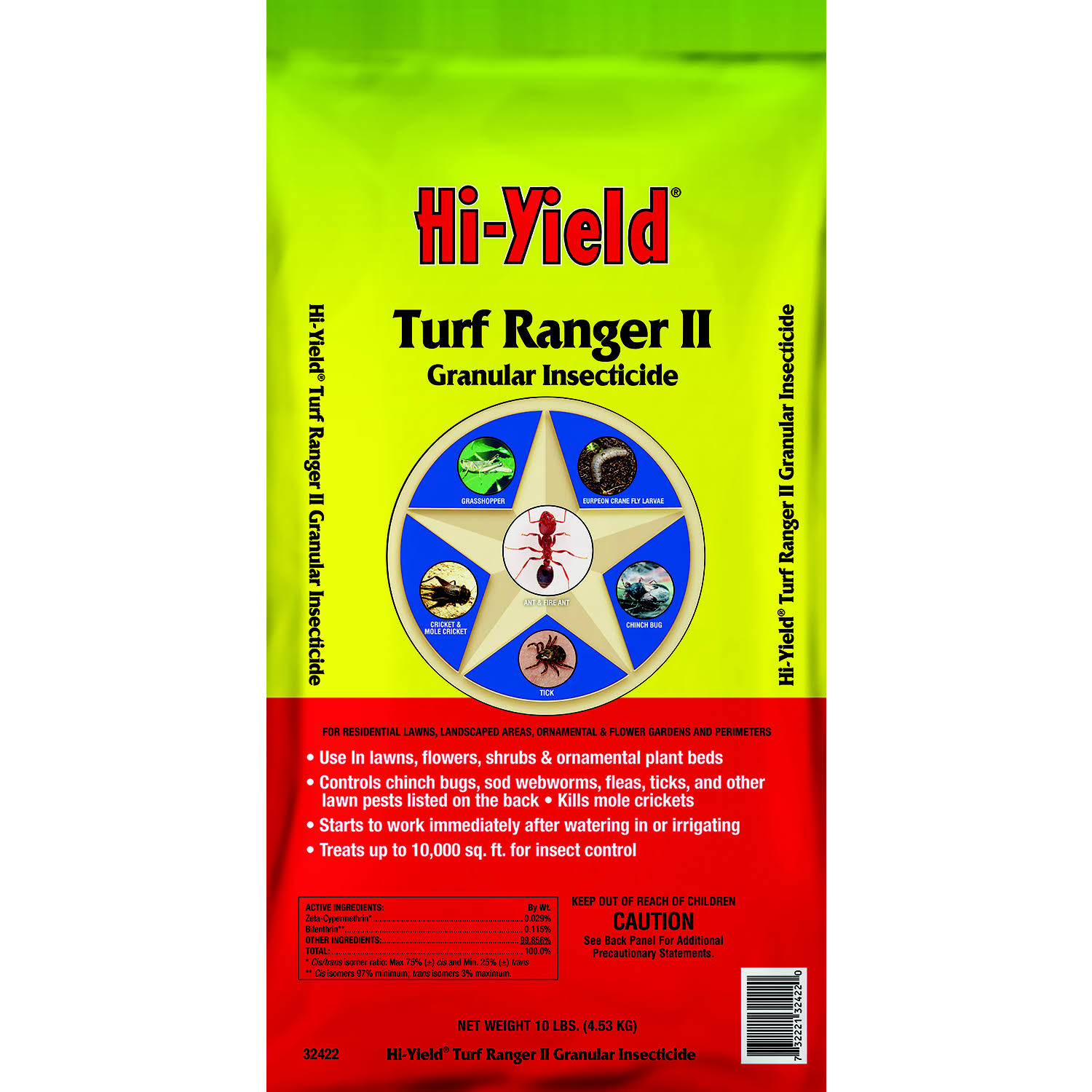 Hi-Yield 32422 Turf Ranger II Insect Killer for Lawns, 10 lb