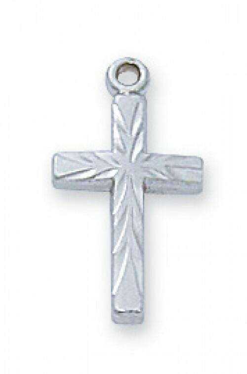 Sterling Silver Cross 16 inch Chain with Deluxe Box