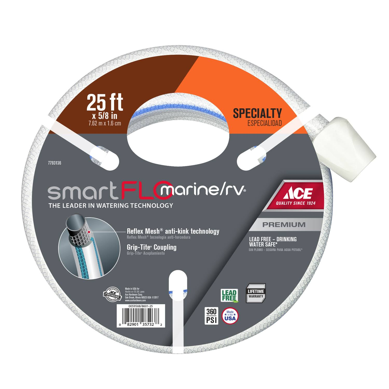 Ace SmartFlo 5/8 in. Dia. x 25 ft. L RV/Marine White Hose