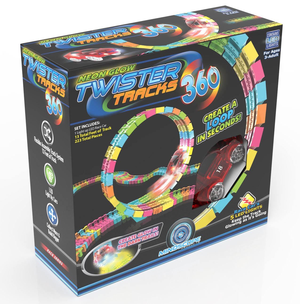 Mindscope Twister Tracks Trax 360 Loop Neon Glow in the Dark with Two Light-Up Pulse LED Vehicles Sports Car Series Playset