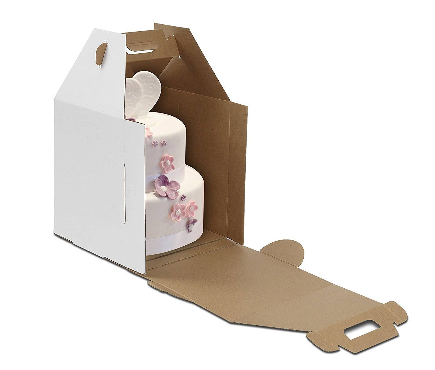 "W Packaging WPTC1214WKE Plain Tall Cake Box, Lock Corner, E-Flute, 12"" x 12"" x 14"" White/Kraft (Pack of 10)"