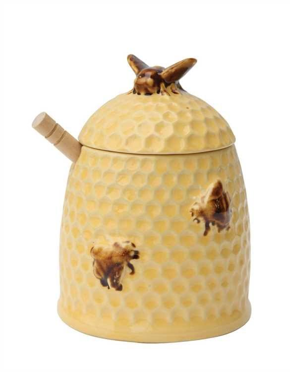 Creative Co-Op Golden Stoneware Honey Jar - Wood Dipper, Yellow