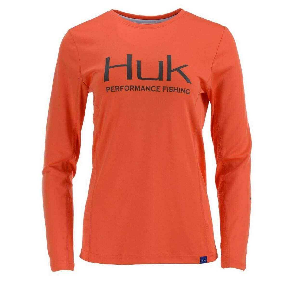 Huk Ladies Icon x Long Sleeve Shirt Coral / S