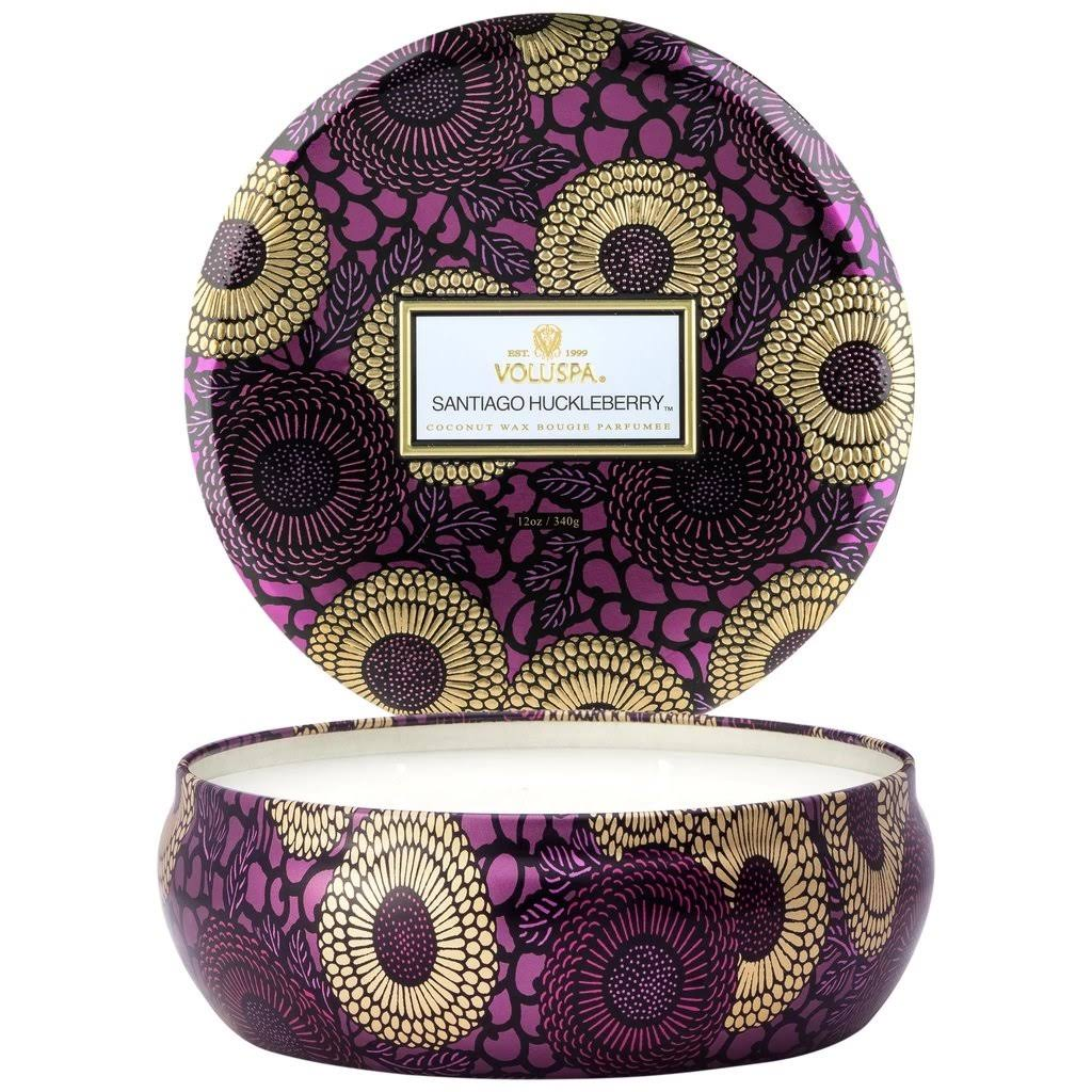 Voluspa Limited 3 Wick Candle In Decorative Tin - Santiago Huckleberry, 12oz