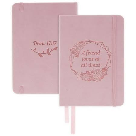 A Friend Loves at All Times Notebook, Pink