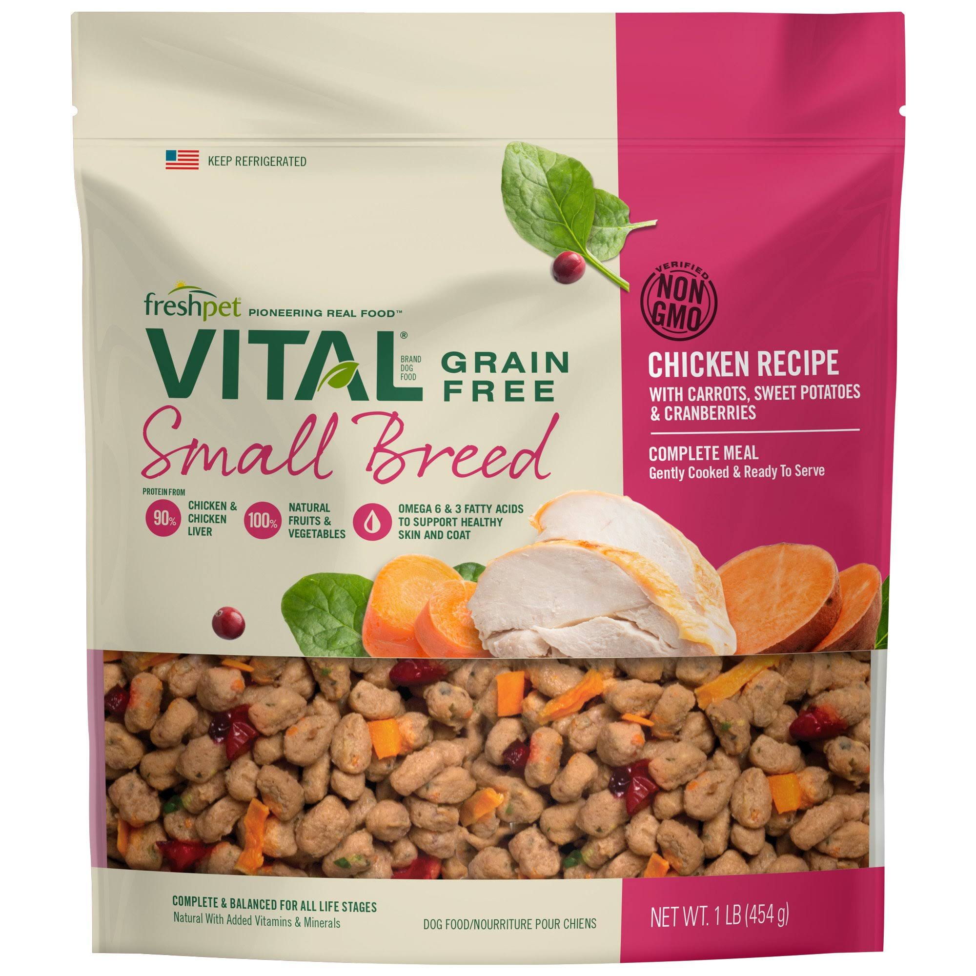Freshpet Vital Complete Meals Grain-Free Chicken Fresh Small Breed Dog Food, 1 lb.