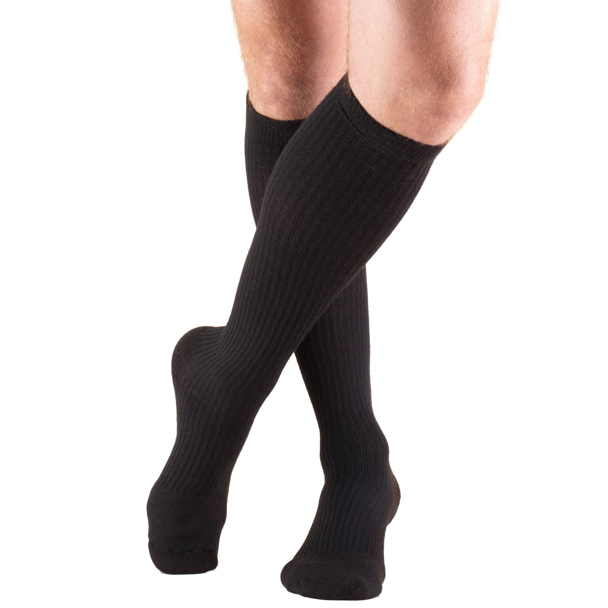 Truform Men's Knee High Cushioned Athletic Support Compression Socks - Black, 15-20mmhg, X-Large