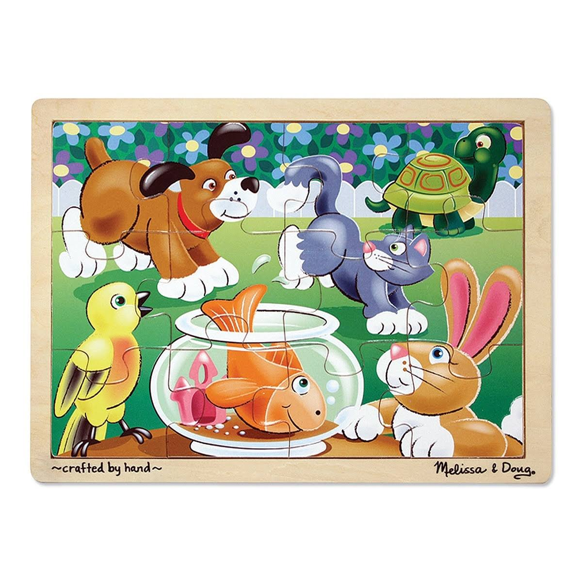 Melissa and Doug Wooden Jigsaw Puzzle - Playful Pets, 12pcs