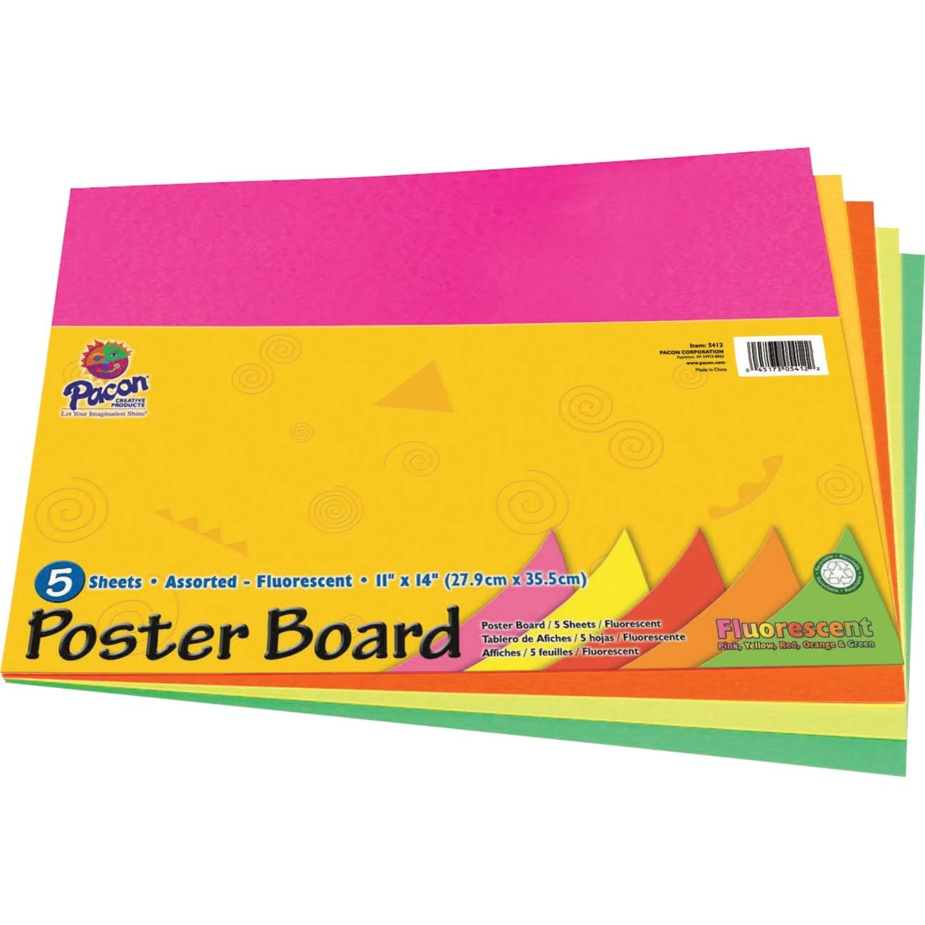 "Pacon Peacock Recyclable Poster Board - Pink/Orange/Red/Yellow and Green, 11"" x 14"""