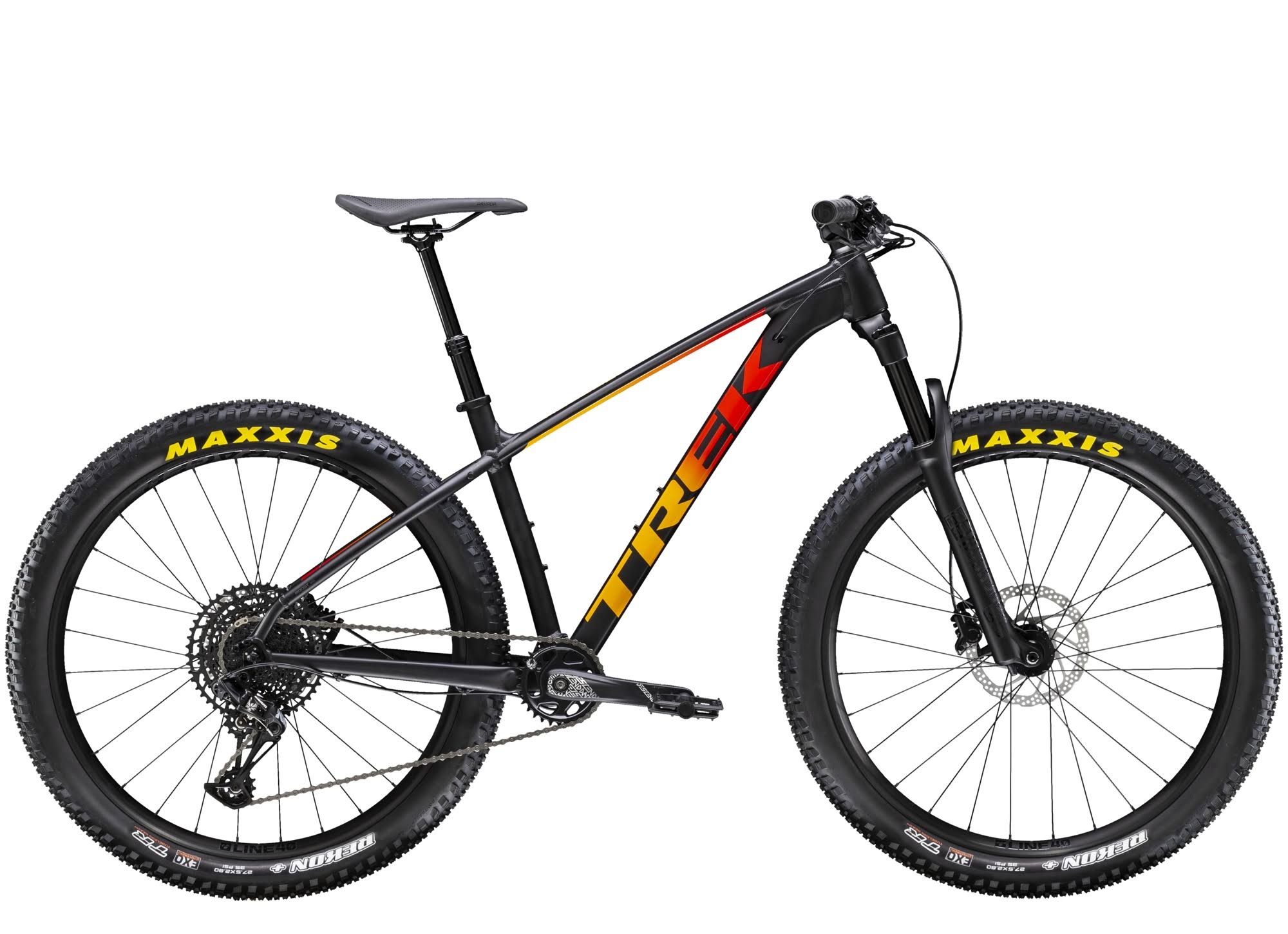 Trek Roscoe 8 Hardtail Trail Bike - Matte Black/Red/Marigold Fade, Large