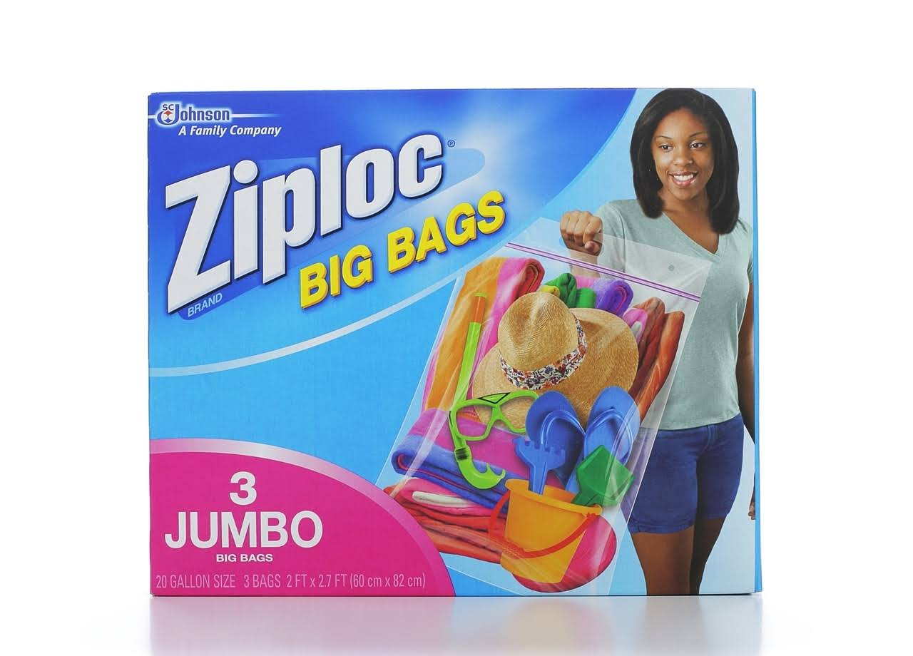 Ziploc Big Bag Double Zipper - 3 Jumbo Big Bags