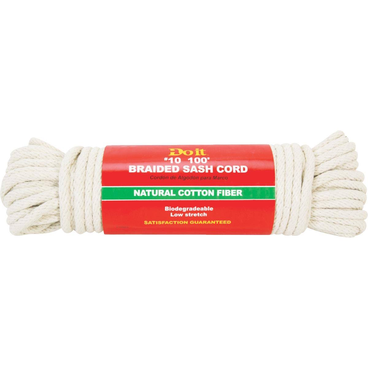 Do it Best Solid Braided Cotton Sash Cord - White