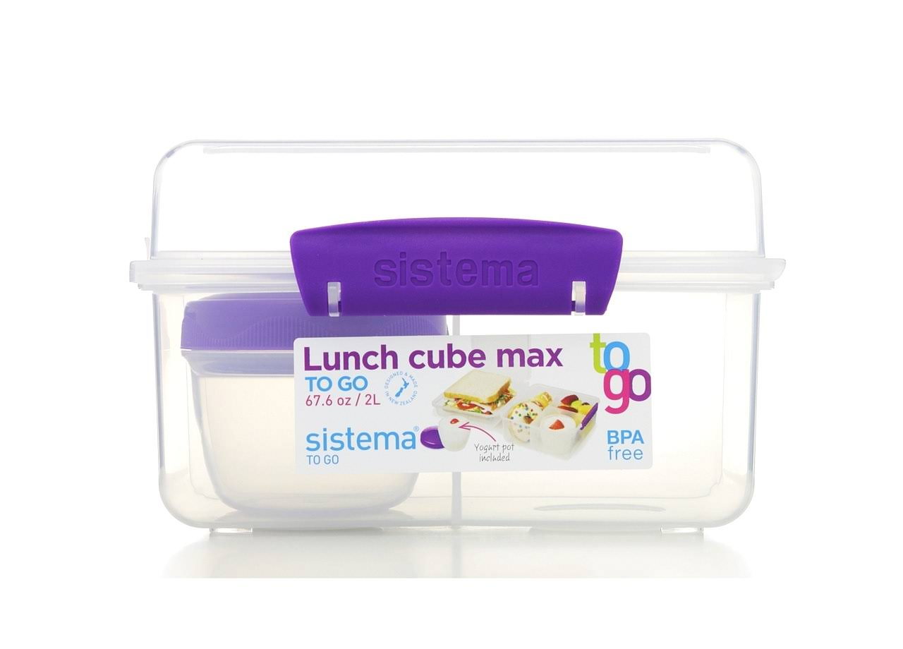 Sistema 21745 2 Liter Clear Lunch Cube Max Box to Go with Yogurt Pot
