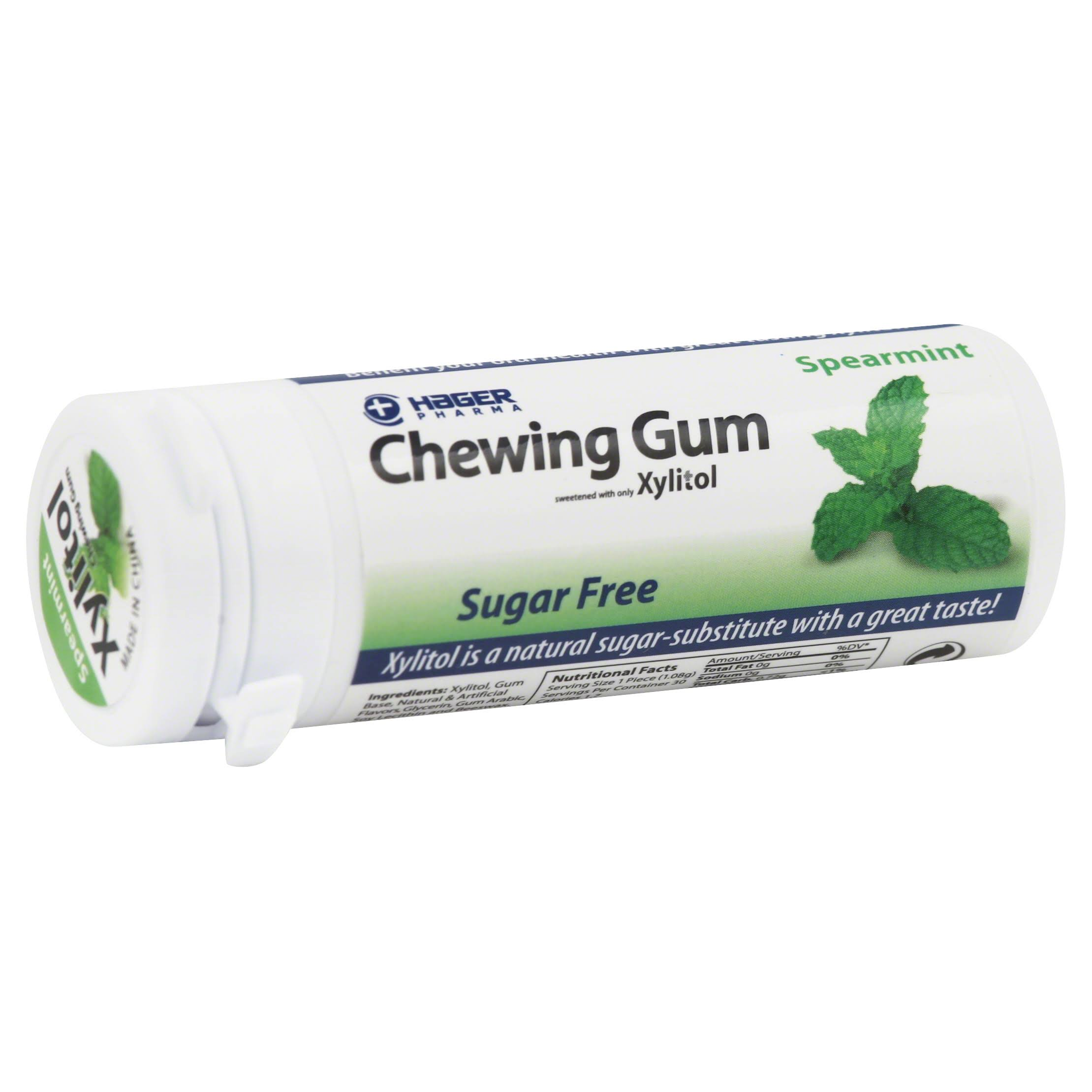Hager Pharma Xylitol Chewing Gum - Spearmint, 30 ct
