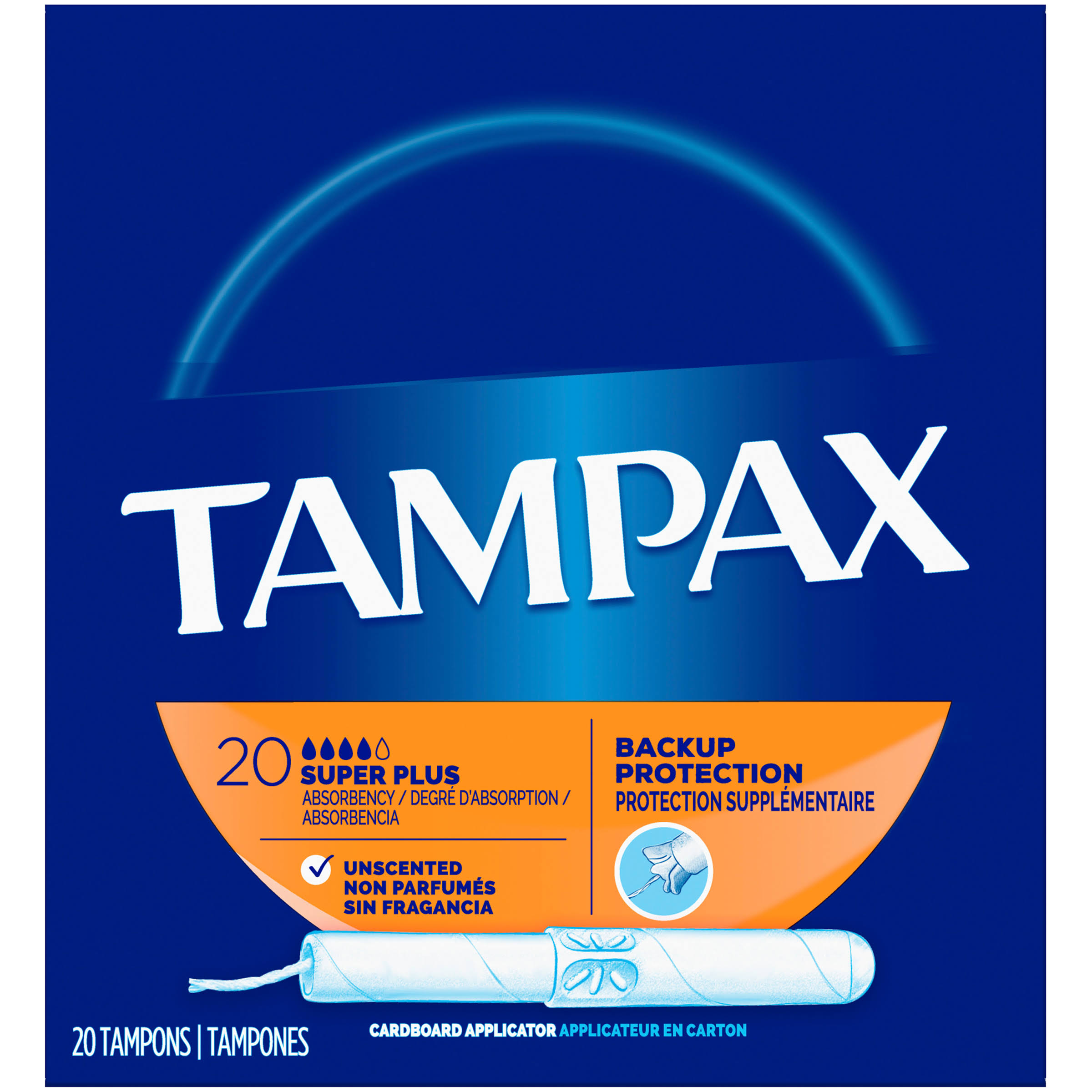Tampax Anti-Slip Grip Cardboard Applicator Super Plus Absorbency Tampons - 20 Pack
