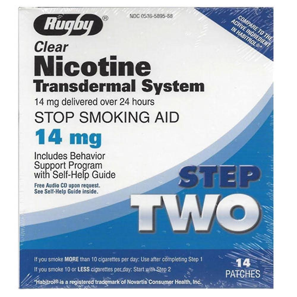 Rugby Clear Nicotine Transdermal System - 14mg, Step 2, 14 Patches