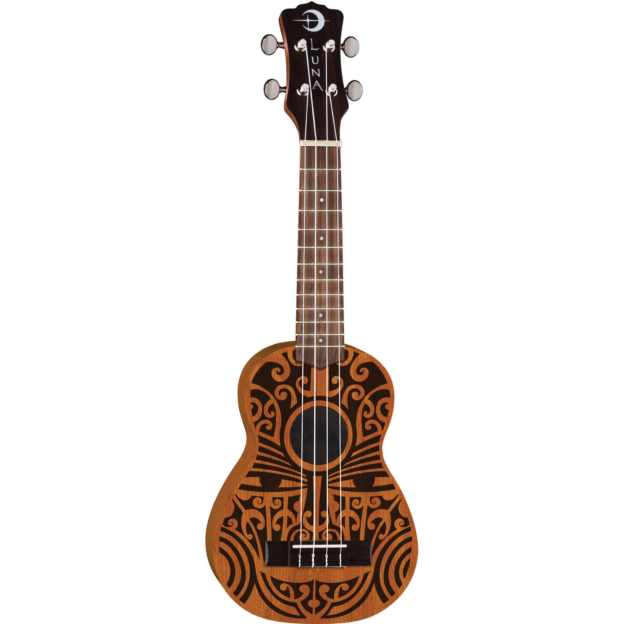Luna Tribal Soprano Ukulele - Natural, 4 String