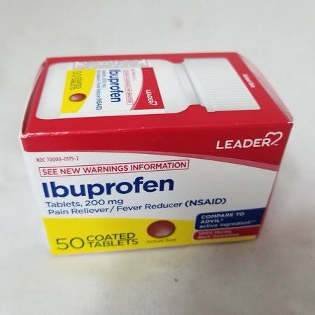 Leader Ibuprofen Coated Tablets, 200mg, 50ct