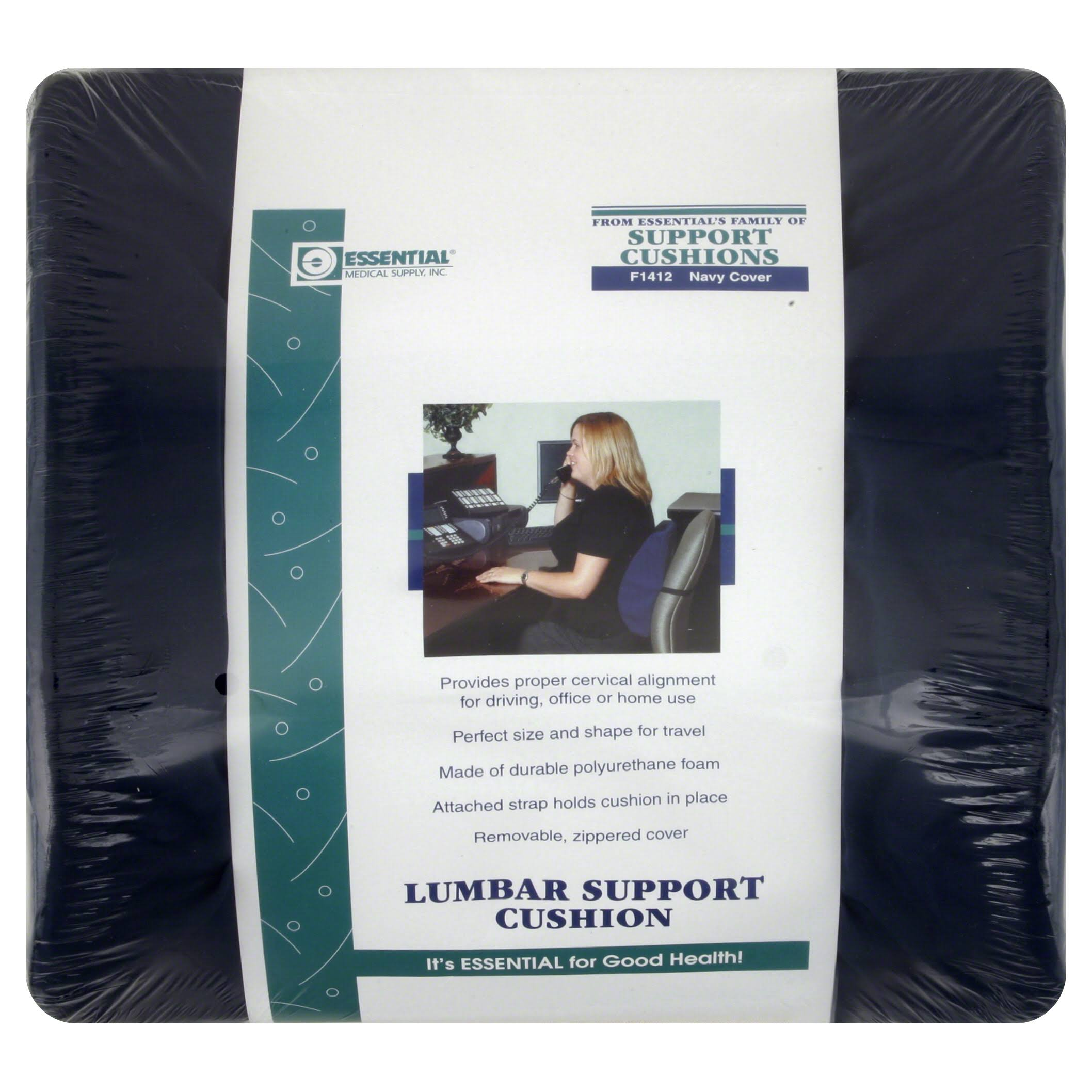 Essential Medical F1412 Lumbar Cushion - with Strap, Navy