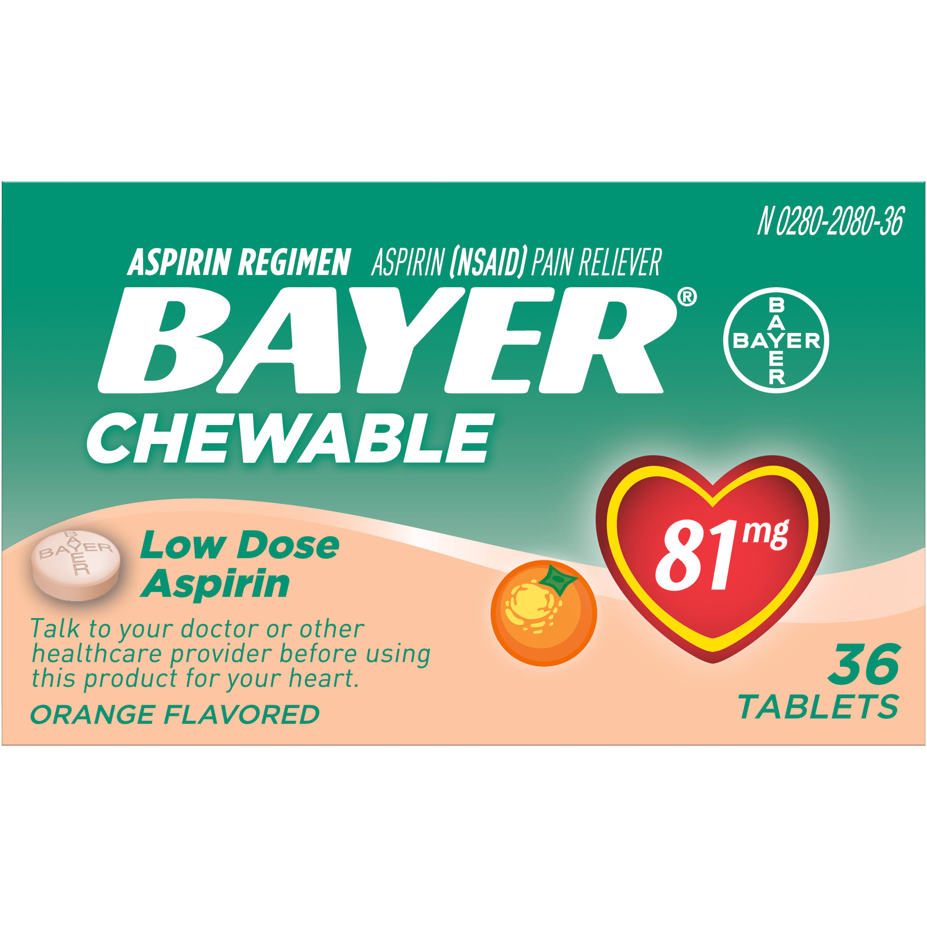 Bayer Aspirin Regimen Pain Reliever - Orange Flavored, 36 Chewable Tablets