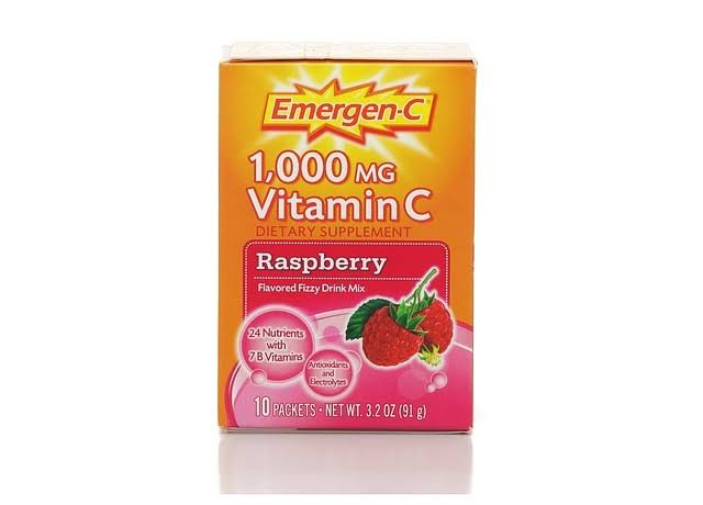 Emergen-C Vitamin C Dietary Supplement - Raspberry, 1000mg, 10 Count, 91g