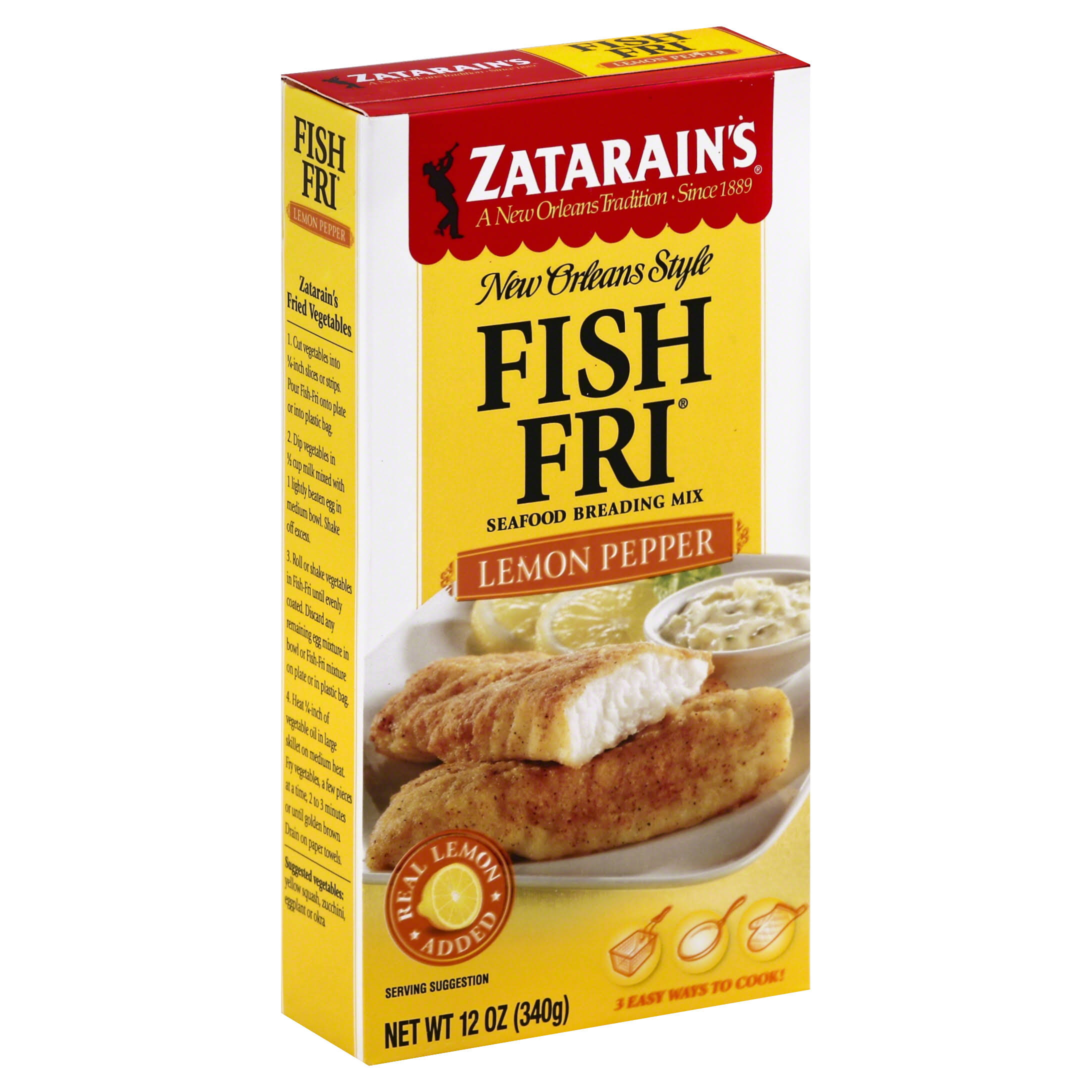 Zatarain's New Orleans Style Fish Fri Seafood Breading Mix - Lemon Pepper, 12oz