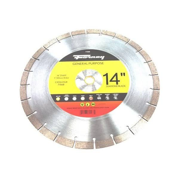 "Forney 71568 Diamond Contractor Blade - 1"" Arbor, 20mm Adapter, 14"""