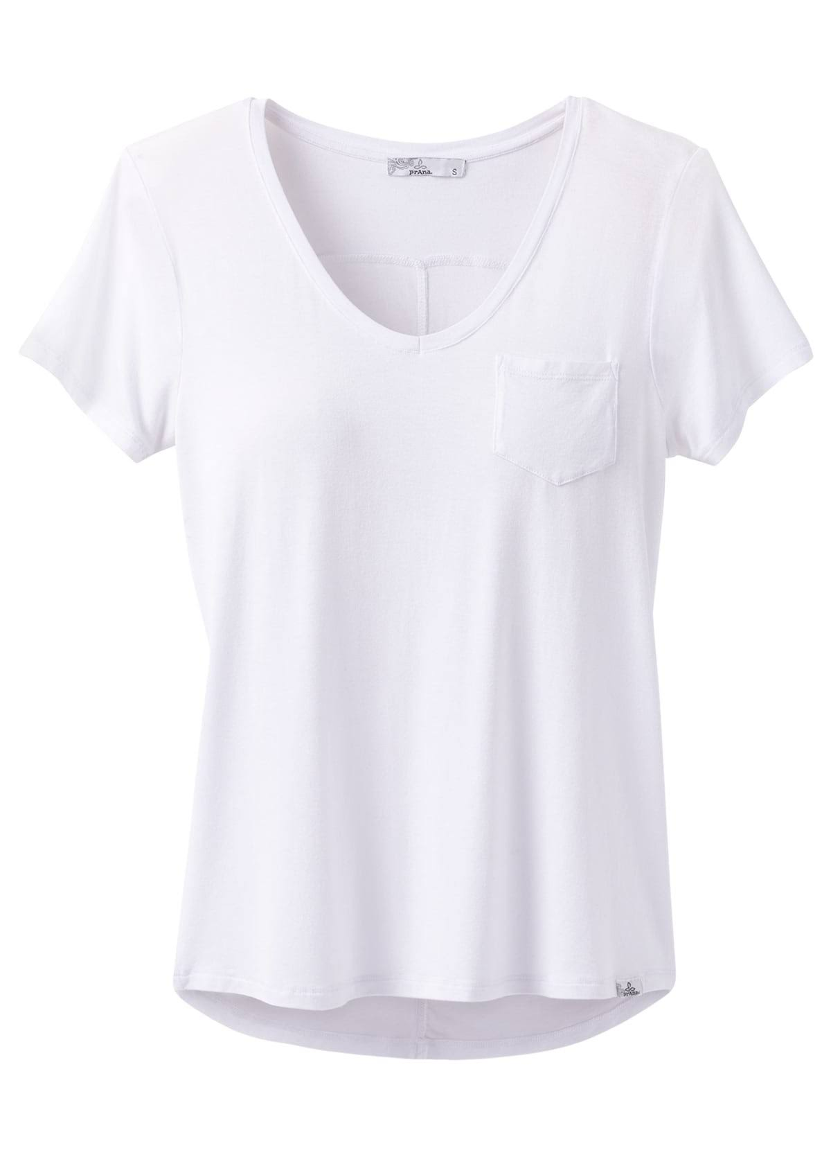 prAna Women's White Foundation Short Sleeve V Neck Top