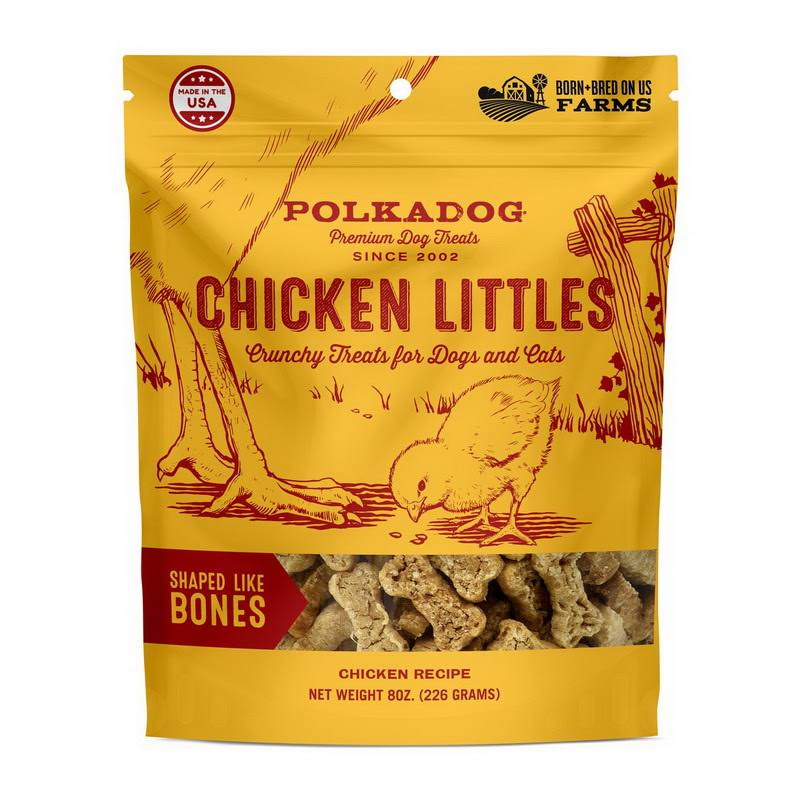 Polka Dog Bakery Chicken Littles Bone Shaped Dog & Cat Treats, 8oz