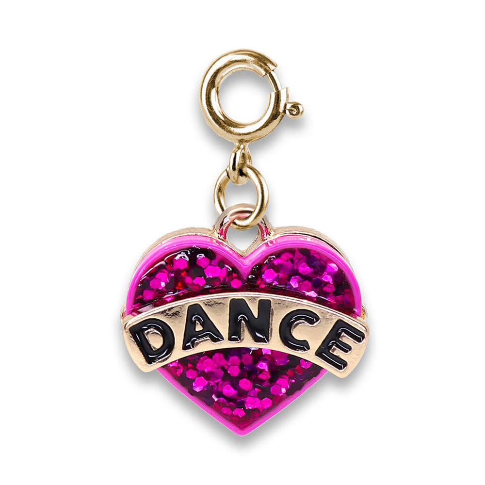 Charm It Gold Glitter Dance Heart