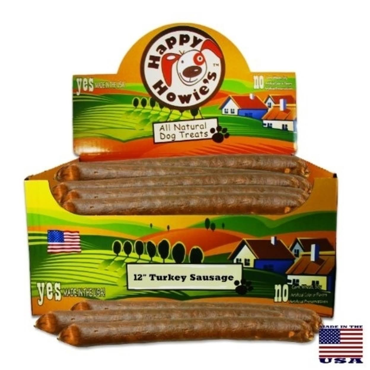 "Happy Howie's Turkey Sausage for Dogs - 12"" 36 Count Case"