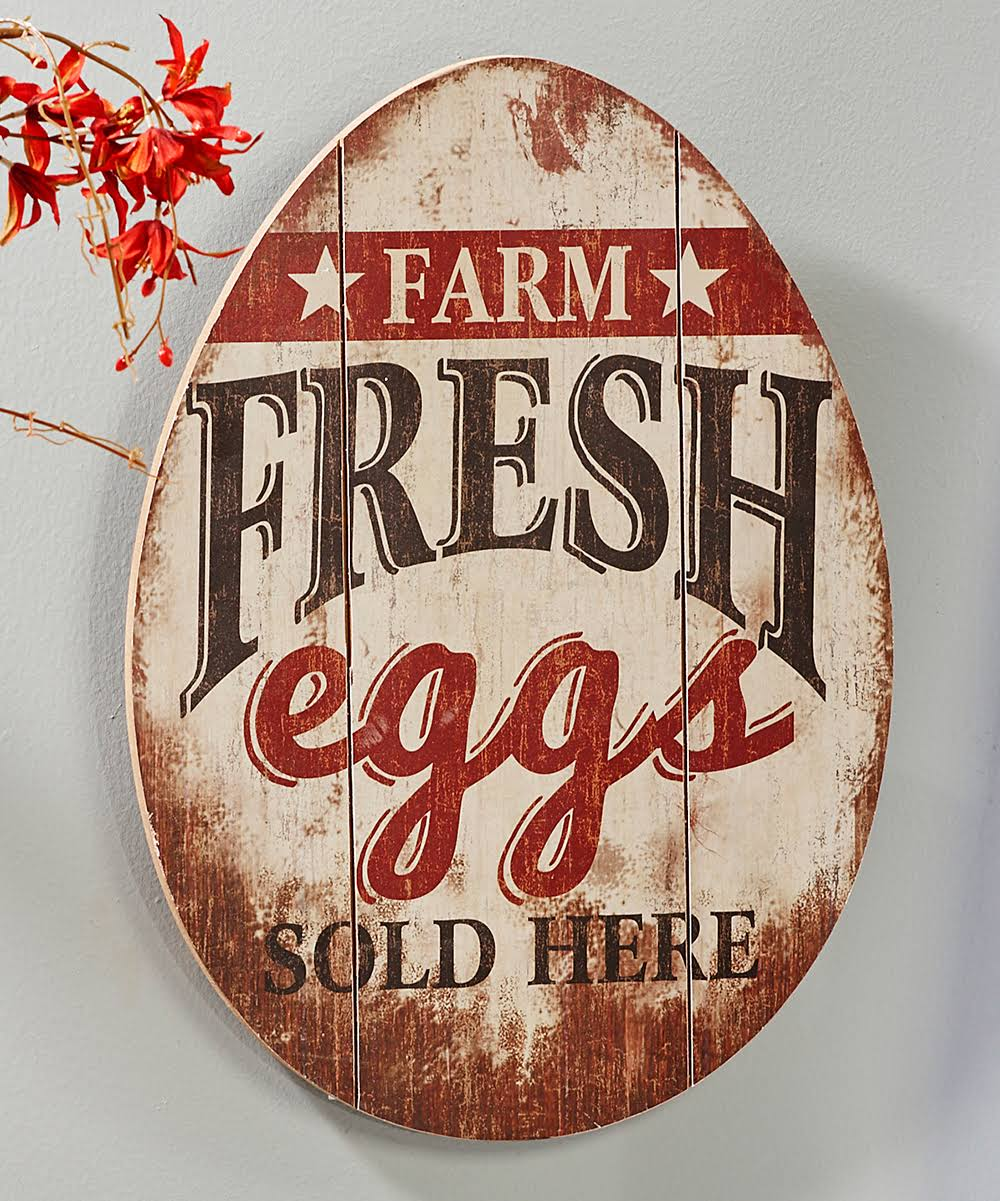 Giftcraft Decorative Plaque 'Farm Fresh Eggs' Wall Sign One-Size