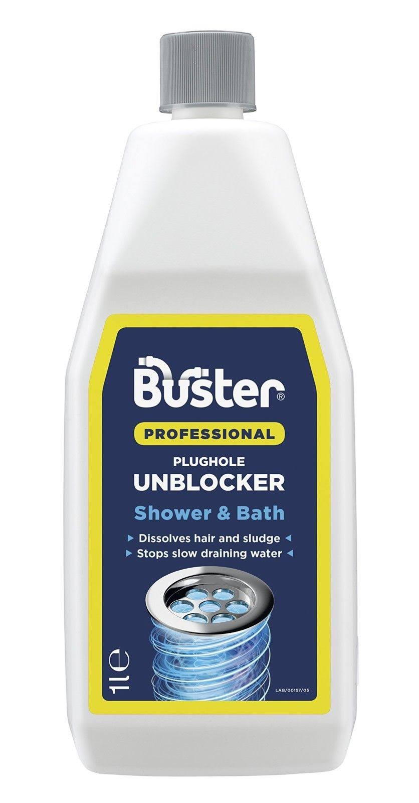 Buster Professional Shower and Bath Plughole Unblocker Drain Opener - 1 Liter