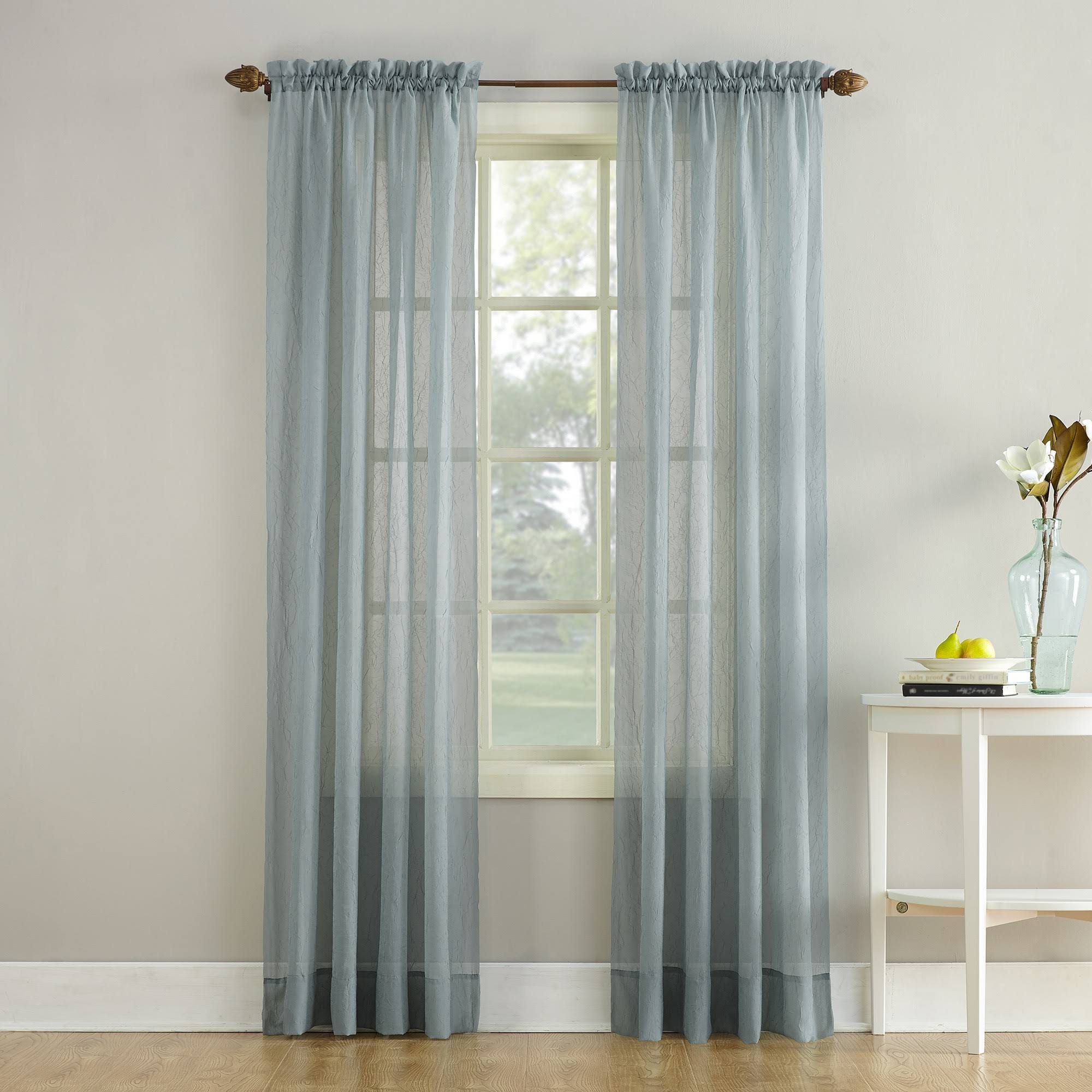 No. 918 Erica Crushed Sheer Voile Rod Pocket Curtain Panel, Gray