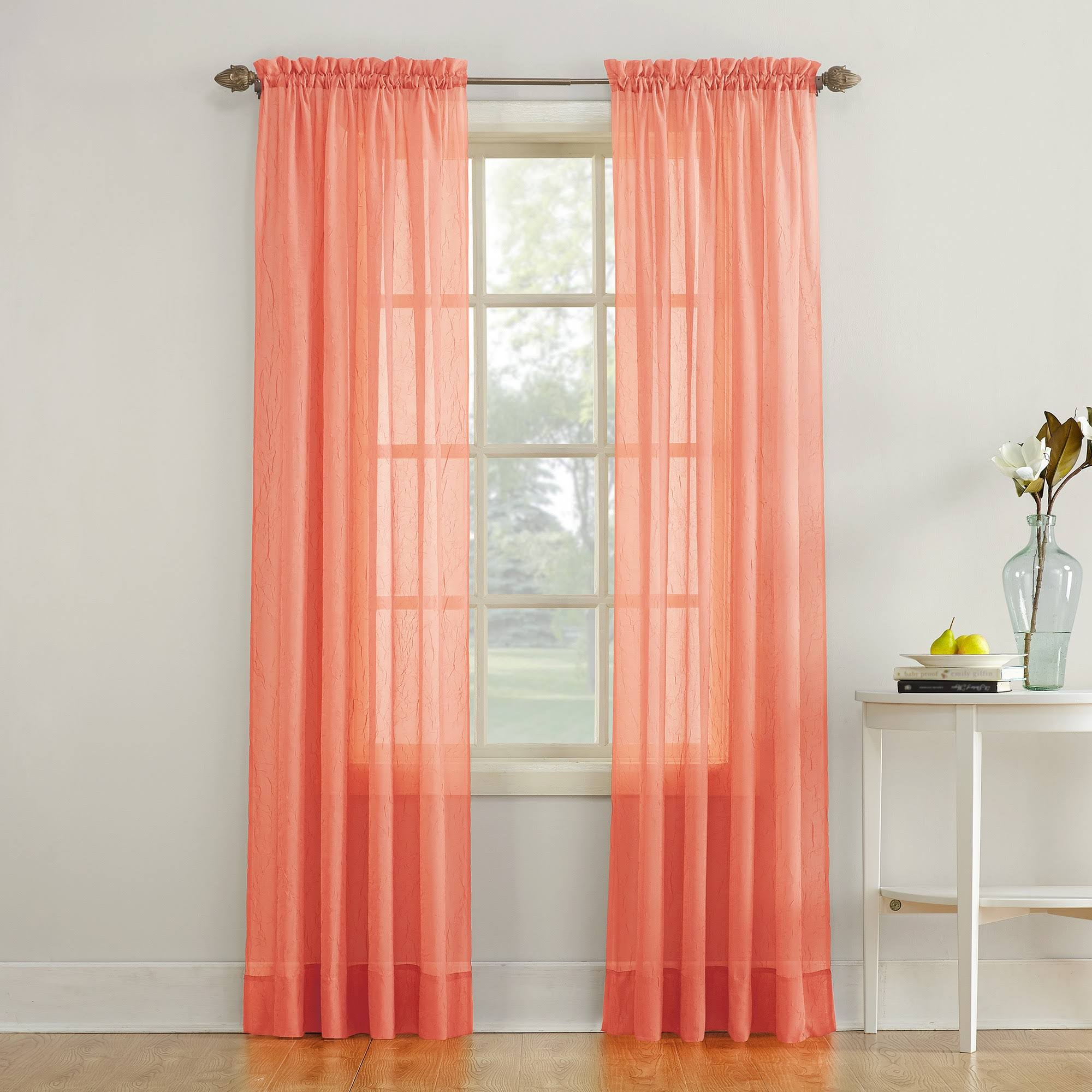 "No. 918 Erica Crushed Texture Sheer Voile Curtain Panel, 51"" x 63"", Coral"