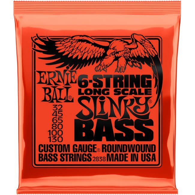 Ernie Ball Long Scale Slinky 6 Nickel Wound Electric Bass Strings