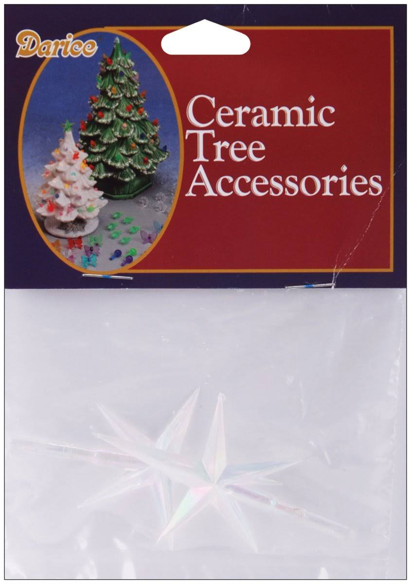 Darice Ceramic Christmas Tree Star - 2.75in x 1.875in, 2pcs
