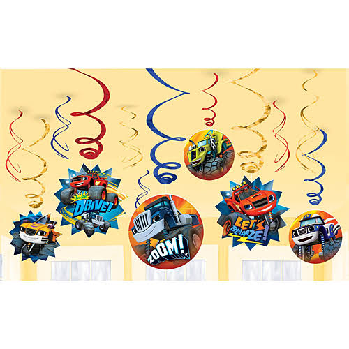 Amscan Blaze and the Monster Machines Value Pack Foil Swirl Decorations - 12pk