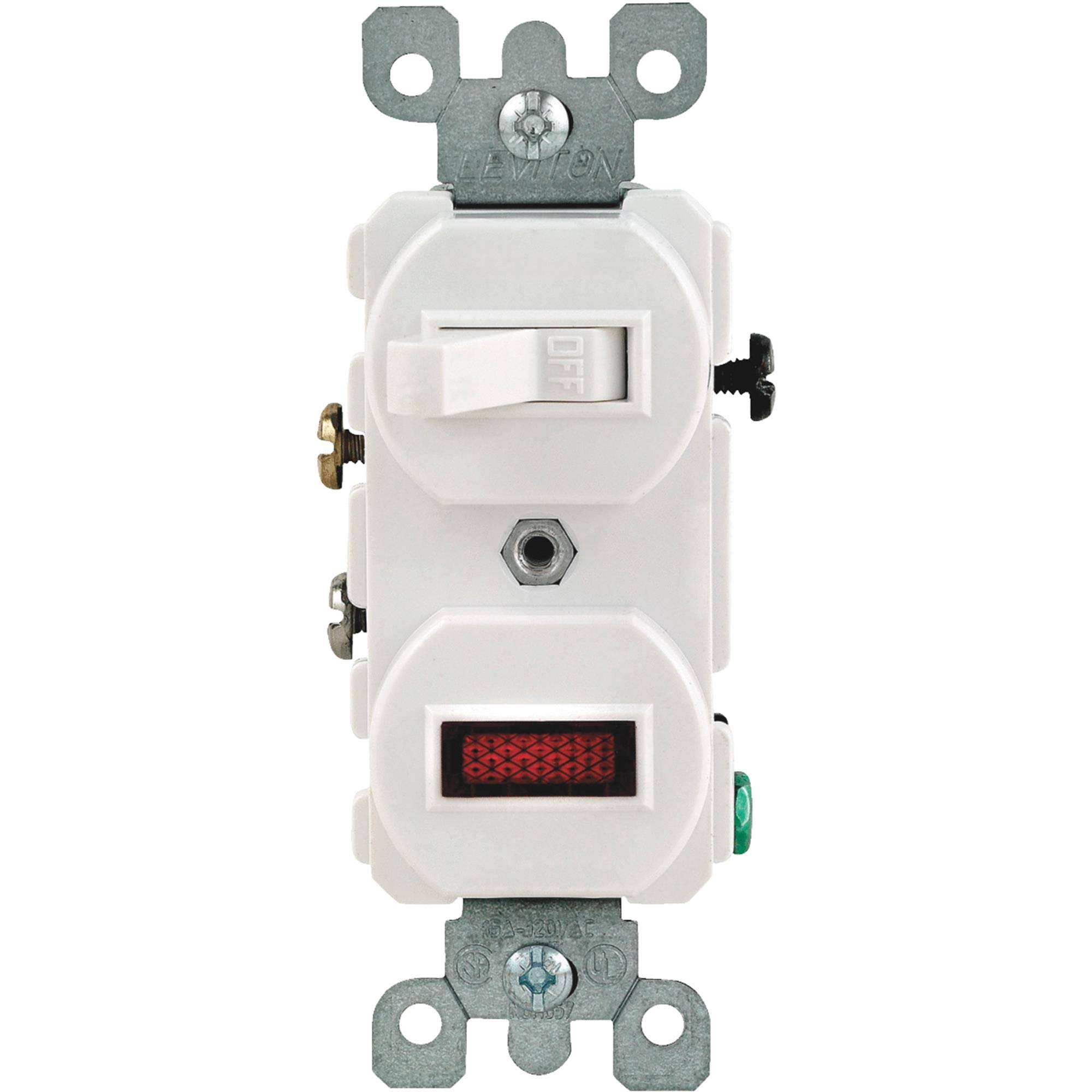 Leviton Combination Switch - 25W, Neon Pilot, 15-Amp, White