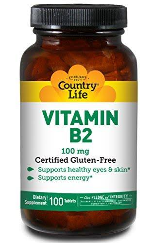 Country Life Vitamin B-2 - 100mg, 100 Tablets