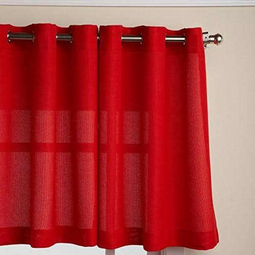Lorraine Home Fashions Jackson 58-Inch x 36-Inch Tier Curtain Pair, Red