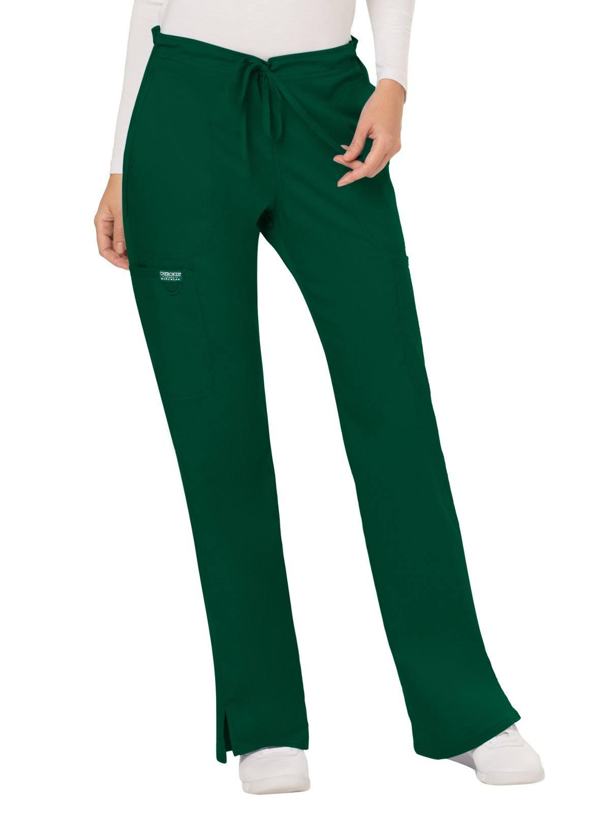 Cherokee Workwear WW120 Mid Rise Moderate Flare Drawstring Pant - Hunter Green - M