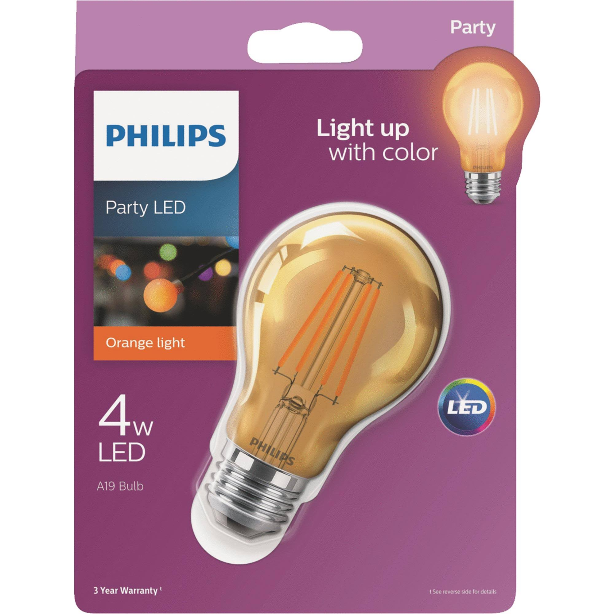 Philips A19 Medium Indoor Outdoor LED Decorative Party Light Bulb - Red, 8W