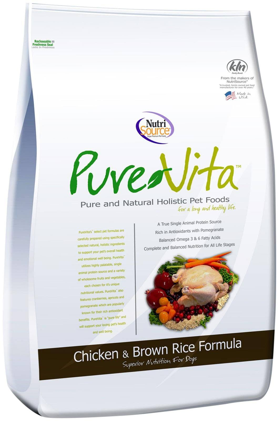 NutriSource Pure Vita Dry Dog Food - Chicken & Brown Rice, 5lb