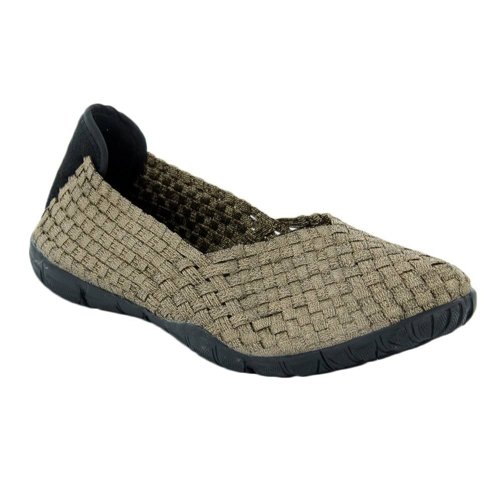 Corkys Women's Woven Elastic Casual Sidewalk Flats Shoes - Bronze, 10 US